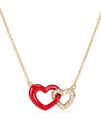 18k Double-Heart Pendant Necklace, 18