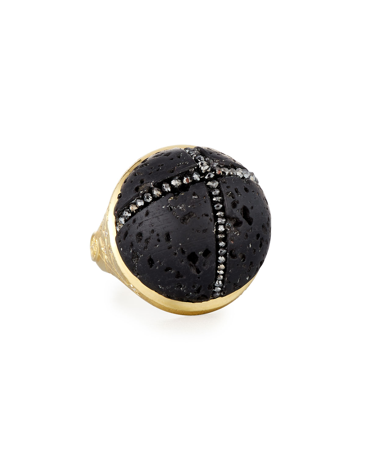 ADAM FOSTER FINE JEWELRY 18K Constellation Lava Rock Ring W/ Black Diamonds