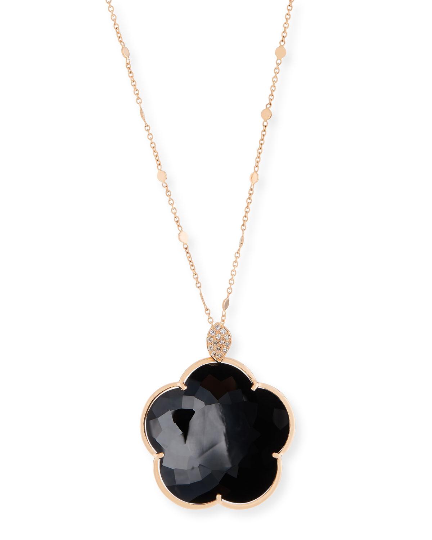 PASQUALE BRUNI BON TON 18K BLACK ONYX FLORAL PENDANT NECKLACE W/ DIAMONDS