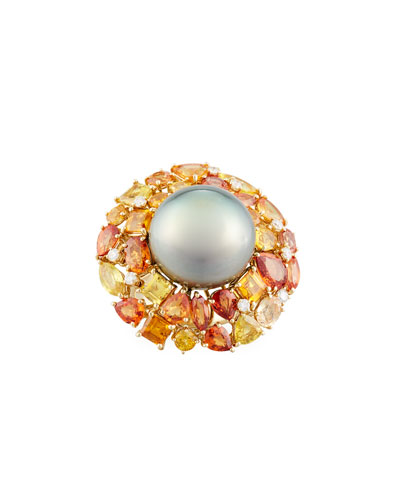 18k Autumn Blush Pearl & Mixed Stone Ring