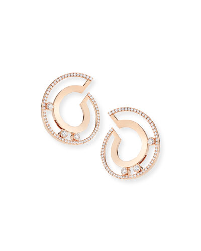 18k Move Roman Small Diamond Hoop Earrings