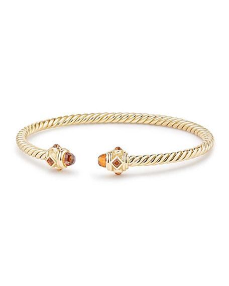 David Yurman 18k Gold Renaissance CableSpira Bangle Bracelet w/ Madeira Citrine, Size M