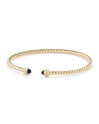 18k Gold CableSpira® Bracelet w/ Black Onyx, Size M
