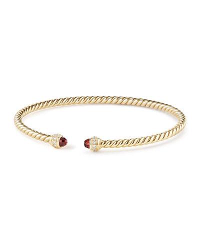 18k Gold CableSpira® Bracelet w/ Garnet, Size M