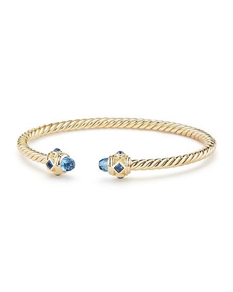 David Yurman 18k Gold Renaissance CableSpira Bangle Bracelet w/ Hampton Blue Topaz, Size L