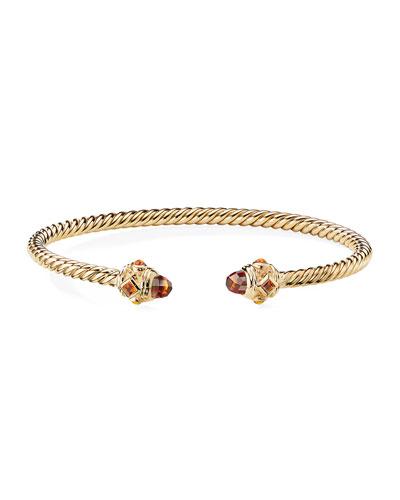 Renaissance 18k Gold Cable & Madeira Citrine Bracelet