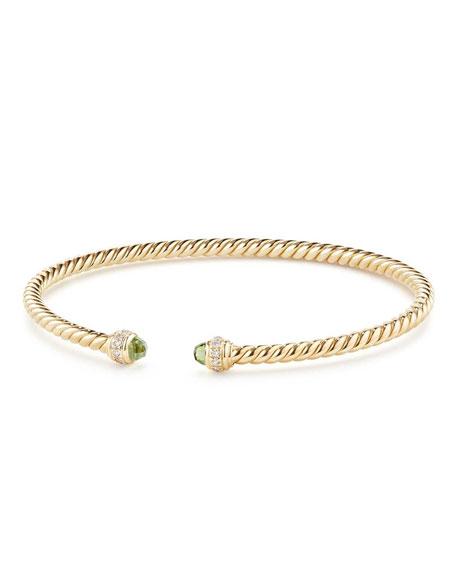 David Yurman 18k Gold CableSpira® Bracelet w/ Peridot, Size M