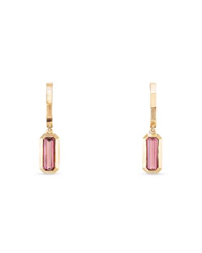 Novella 18k Hoop Drop Earrings w/ Pink Tourmaline