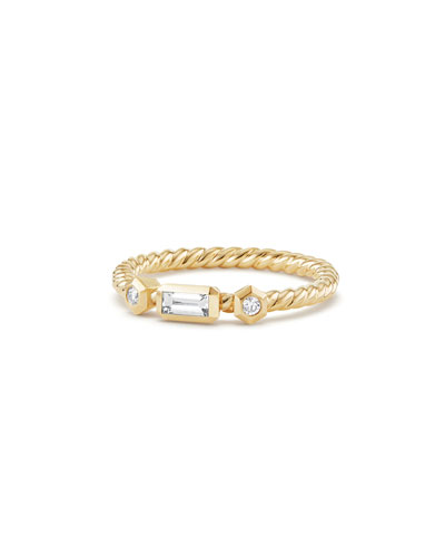 Novella 18k Baguette Diamond Stack Ring, Size 5