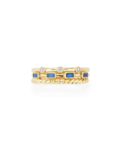 Novella 18k Three-Row Ring w/ Sapphires & Diamonds, Size 5