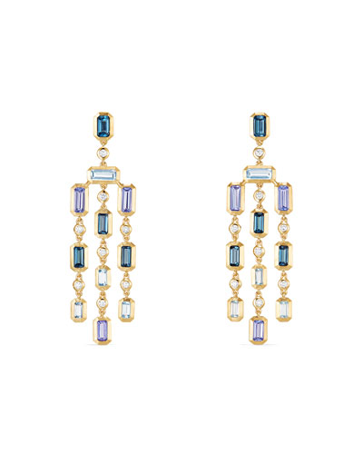 Novella 18k Statement Dangle Earrings in Blue Topaz & Tanzanite