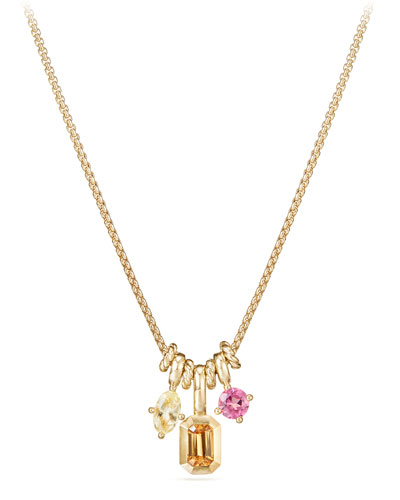 Novella Pendant Necklace in 18k Yellow Gold with Garnet & Tourmaline