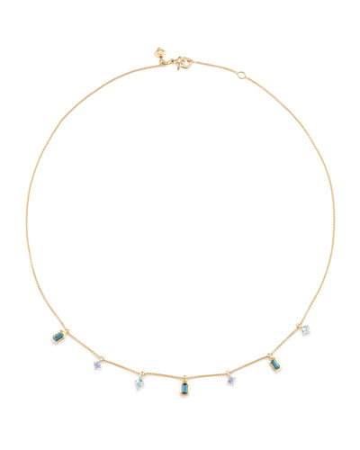 Novella 18k Dangle Necklace with Blue Stones & Diamonds