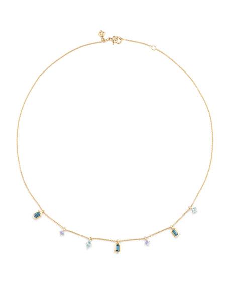 David Yurman Novella 18k Dangle Necklace with Blue Stones & Diamonds