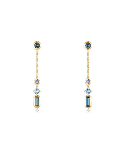 Novella 18k Linear Drop Earrings with Blue Topaz/Aquamarine