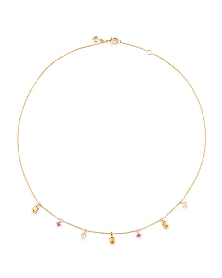 David Yurman Novella 18k Dangle Necklace with Garnet, Beryl & Diamonds
