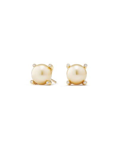 Solari 18k South Sea Pearl Stud Earrings w/ Diamonds