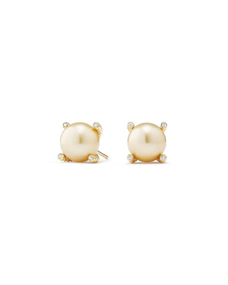 David Yurman Solari 18k South Sea Pearl Stud Earrings w/ Diamonds