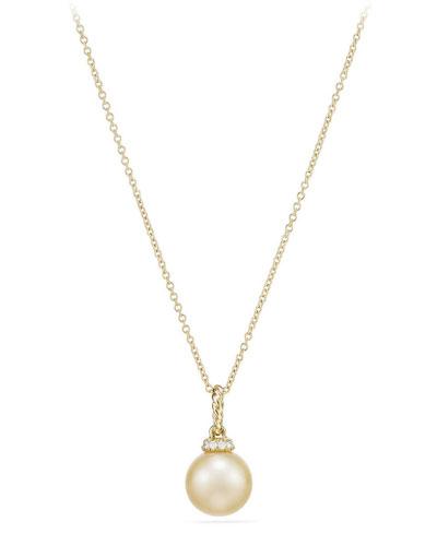 Solari 18k Pearl Pendant Necklace w/ Diamonds, Golden