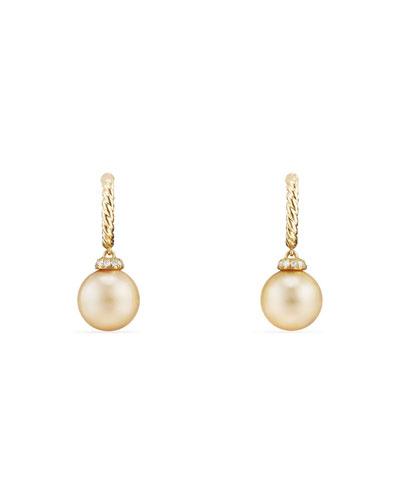 18k Solari Pearl Hoop Earrings w/ Diamonds