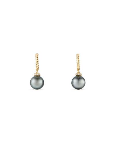 18k Solari Pearl Hoop Drop Earrings w/ Diamonds