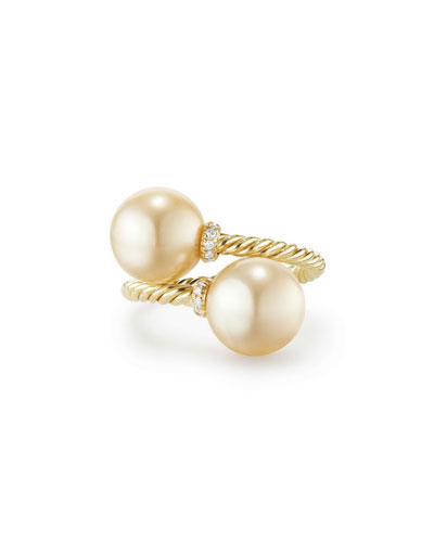 Solari 18k Pearl Bypass Ring w/ Diamonds, Size 7