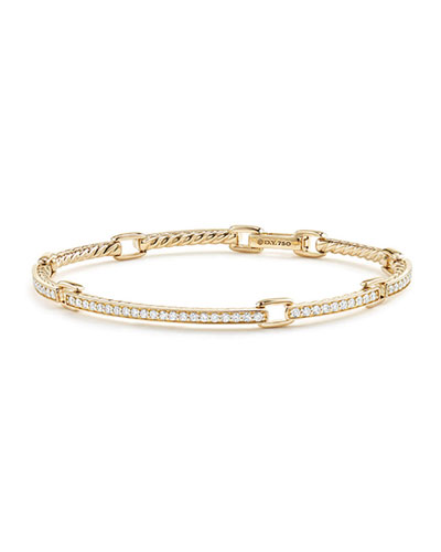 Petite Pavé Diamond Link Bracelet in 18k Yellow Gold, Size Medium