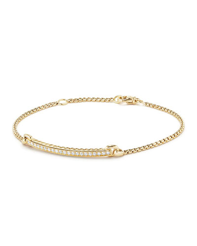 Petite Pavé Diamond Station Bracelet in 18k Yellow Gold