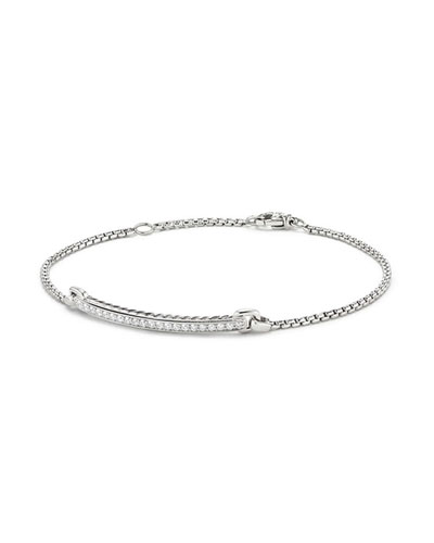 Petite Pavé Diamond Station Bracelet in 18k White Gold