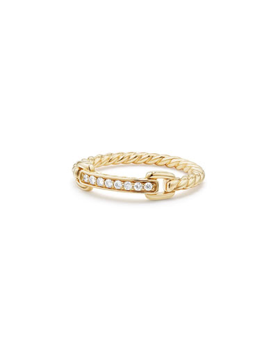 Petite Pave Bar Ring w/ Diamonds in 18k Yellow Gold, Size 5