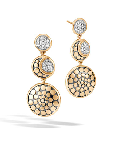 Dot Moon Phase 18K Gold Diamond Pave Triple Drop Earrings