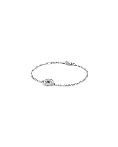 18k Cable Collectibles Evil Eye Bracelet, White Gold