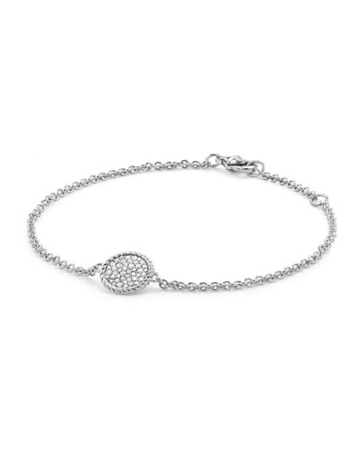 18K White Gold & Pave Diamond Cable Bracelet