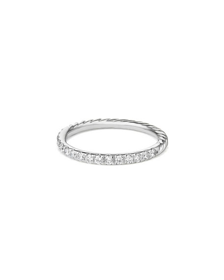 David Yurman Cable Collectibles Pave Diamond Band Ring in 18K White Gold, Size 7