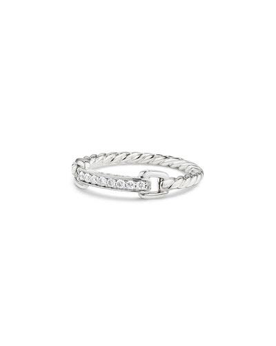 Petite Pavé Bar Ring w/ Diamonds in 18k White Gold, Size 6