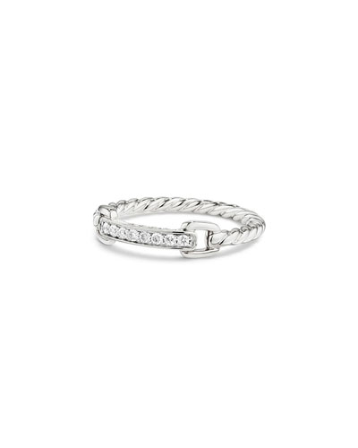 Petite Pave Bar Ring w/ Diamonds in 18k White Gold, Size 7