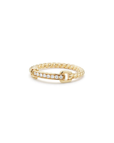 Petite PavÉ Bar Ring W/ Diamonds In 18K Yellow Gold, Size 7 in White/Gold