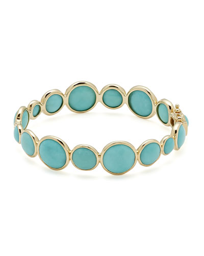18k Gold Lollipop® Hinged Bangle in Turquoise