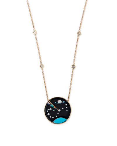 14k Galaxy Scorpio Pendant Necklace