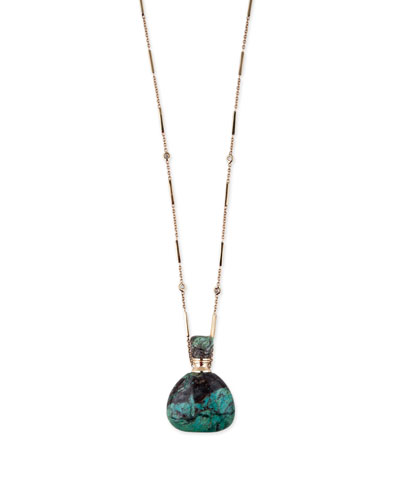 14k Turquoise Potion Bottle Pendant Necklace