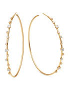 14k Solo Scattered Diamond Hoop Earrings