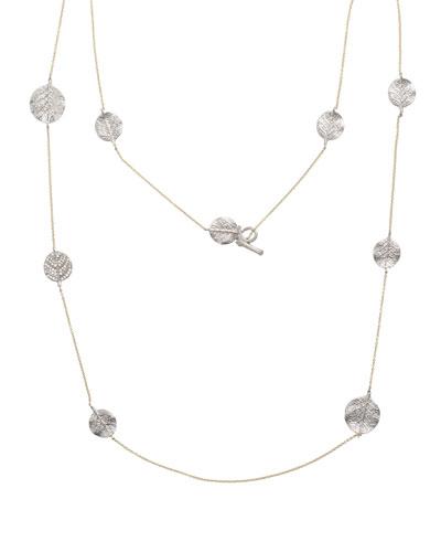 Botanical Leaf Long Diamond Station Necklace, 36