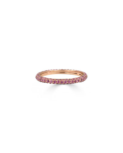 Lana Jewelry Electric 14K Black Gold Stacking Ring with Pink Sapphire, Size 7