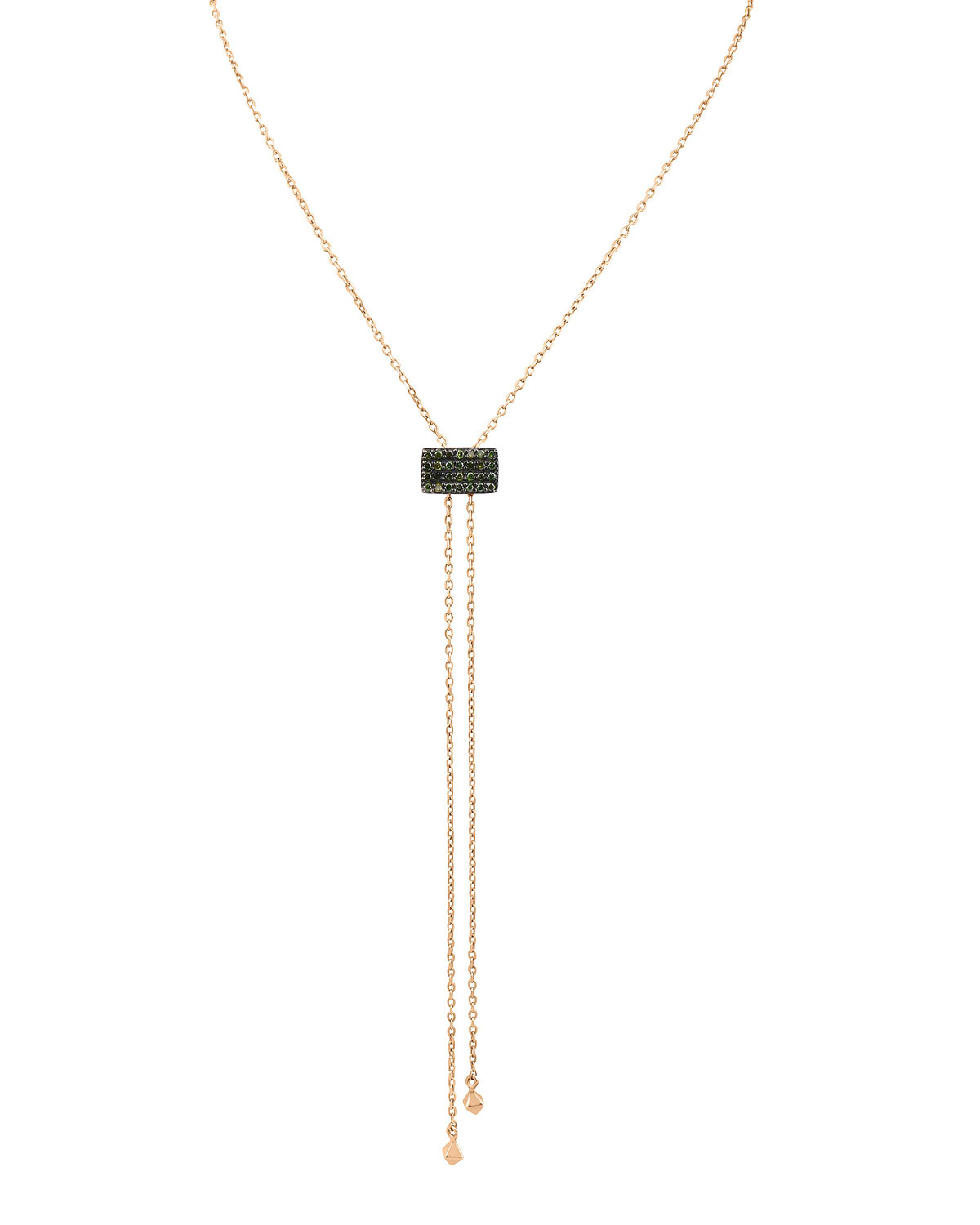 STEVIE WREN 14K ROSE GOLD GEOMETRIC LARIAT NECKLACE WITH GREEN DIAMONDS