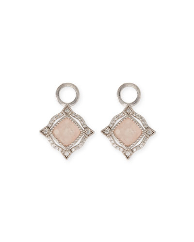 Lisse 18K Delicate Cushion Morganite Earring Charms with Diamonds