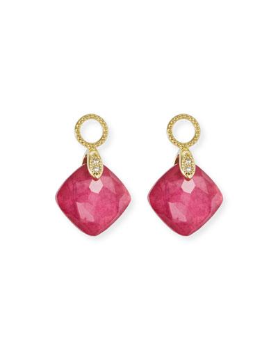18k Lisse Rhodolite Cushion Earring Charms
