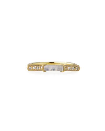 Moroccan Marrakech East-West Stone Ring with Moonstone & Diamonds, Size 6.5