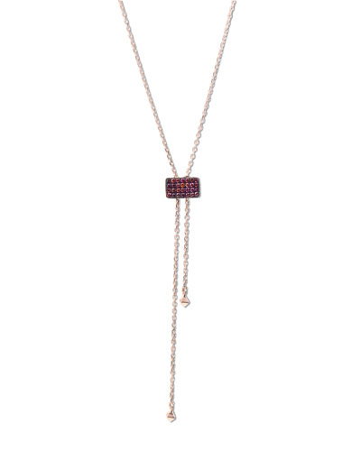 Pink Diamond Lariat Necklace in 14K Rose Gold