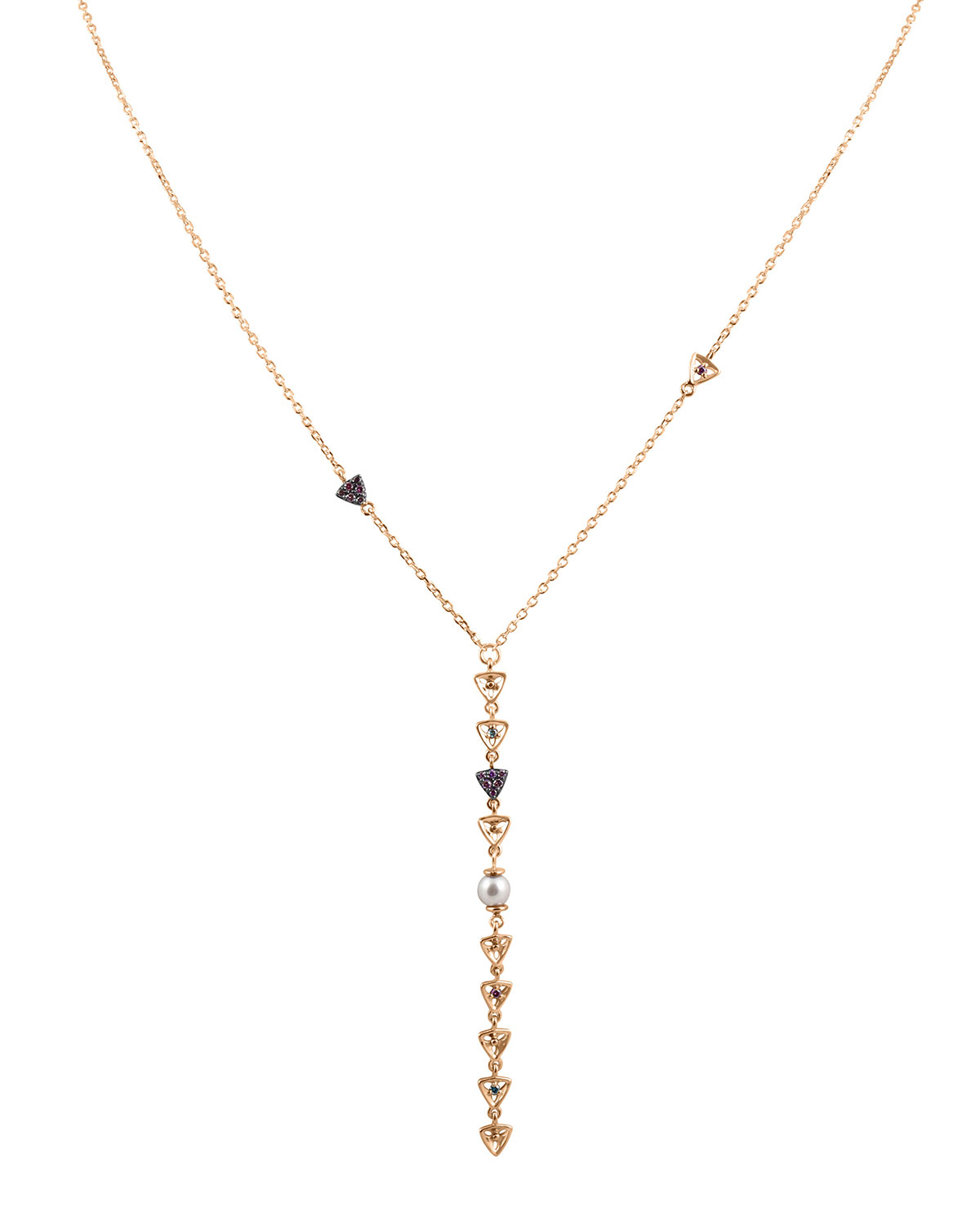 STEVIE WREN DIAMOND TRIANGLE & PEARL LARIAT NECKLACE IN 14K ROSE GOLD