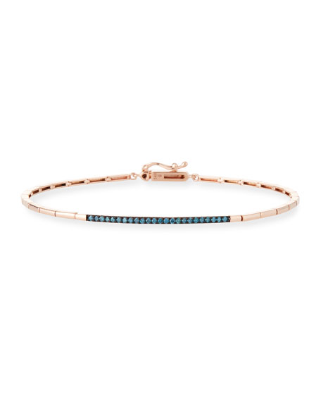 Stevie Wren 14k Gold Geometric Blue Diamond Bangle Bracelet